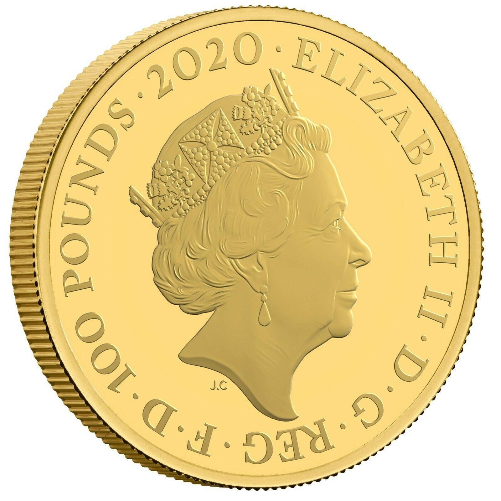 グレートブリテン2020年エリザベスII世100ポンド1オンスプルーフ金貨ジェームズボンド007箱付き