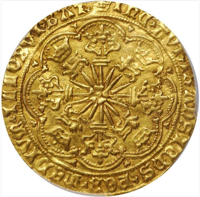 グレートブリテン エドワード4世(1466-1467)ローズノーブル金貨PCGS-AU55