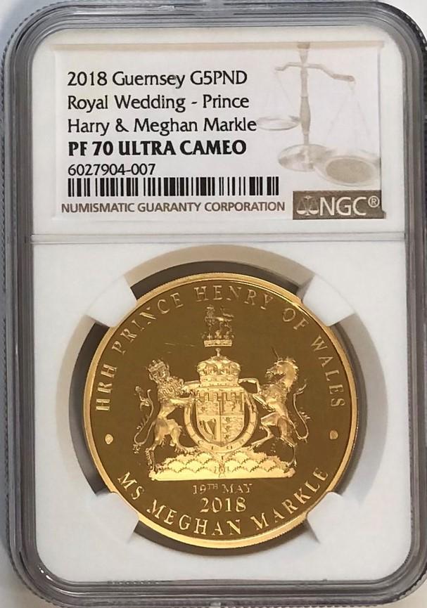 イギリスの王室属領ガーンジー島2018年5ポンド金貨ロイヤルウエディング-ヘンリー王子とメーガン・マークルNGC-PF70UCAM
