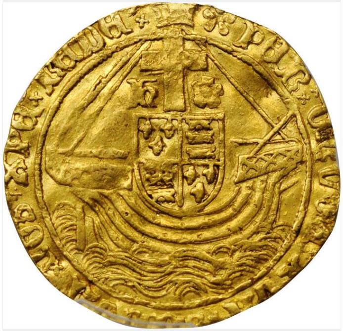 グレートブリテン1495-1498年ヘンリー7世エンジェル金貨PCGS-AU50