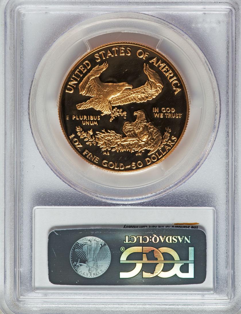 【動画あり】50ドル金貨 ゴールドイーグル 1990-W GOLD EAGLE  $50 PCGS PR70DCAM完全未使用