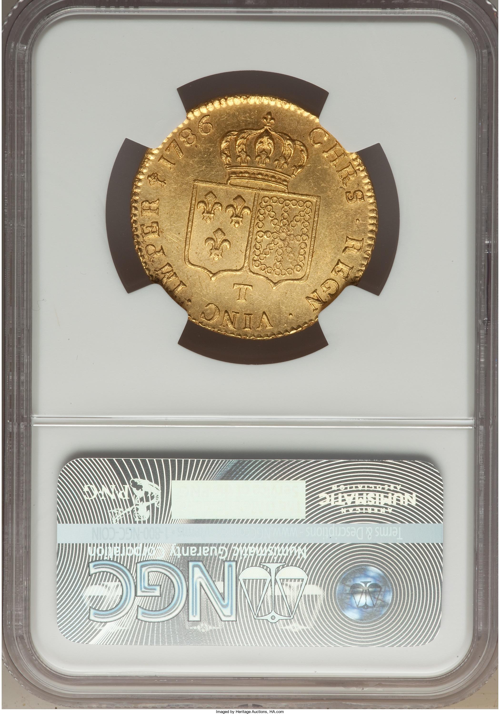【動画あり】アンティークコイン フランス 1786年ルイ16世2ルイドール金貨1786-T MS63 NGC
