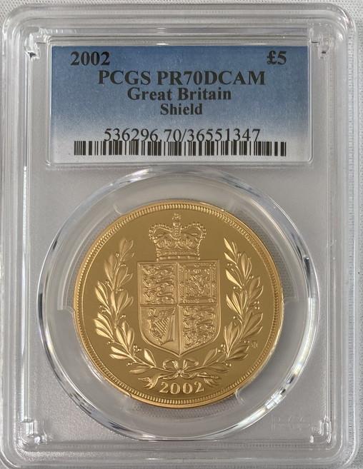 【動画あり】グレートブリテン2002年エリザベスII世5ポンド金貨PCGSPR70DCAM36733755