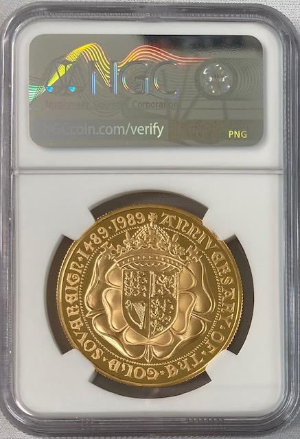 【動画あり】1989年グレートブリテン エリザベス2世 500周年記念 5ポンド金貨 NGC-PF70UCAM-6027452-015