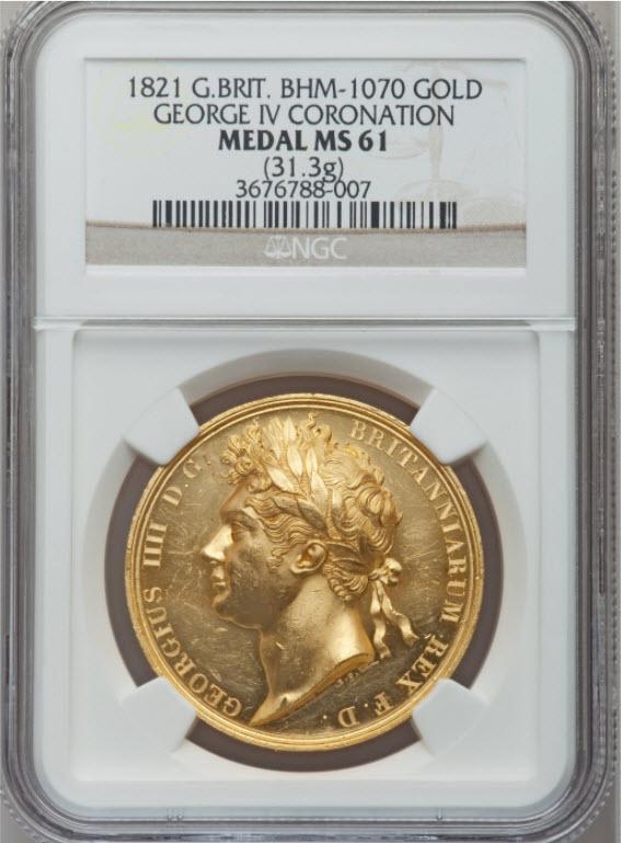 グレートブリテン1821年ジョージ4世戴冠式ゴールドメダルNGC-MS61