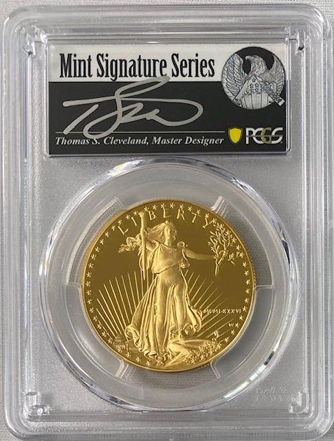 【動画あり】アメリカ50ドル金貨 ゴールドイーグル 1986-W年 $50PCGS PR70DCAMクリーブランドサイン入り38946305