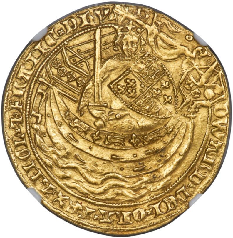 グレートブリテン エドワード3世(1369-1377) ノーブル金貨NGC-AU58