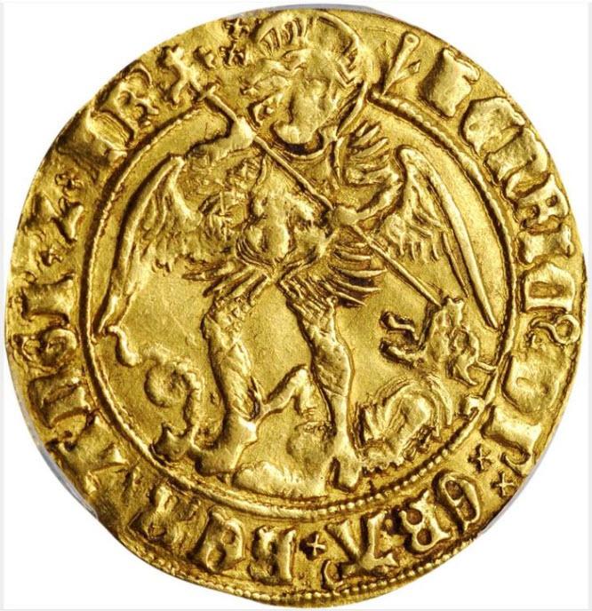 グレートブリテン1505-09年ヘンリー7世エンジェル金貨PCGS-AU53