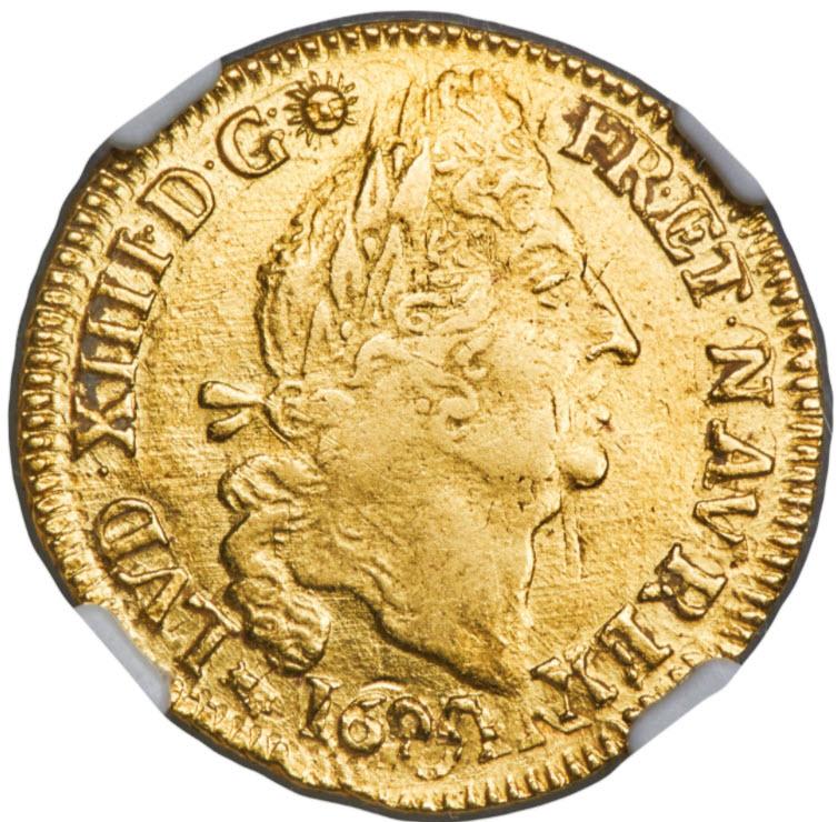 フランス-ルイ14世 ルイドール金貨1694-K-NGC-AU53