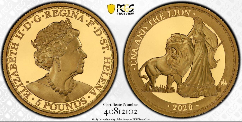 2020年 グレートブリテン領 セントヘレナ島ウナ&ライオン5ポンドプルーフ金貨PCGS-PR70DCAM