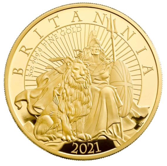 【動画あり】グレートブリテン 2021年 エリザベス2世 純金5オンス 500ポンドプルーフ・ライオンとブリタニア金貨 NGC-PF70UCAM ファースリリース箱付き