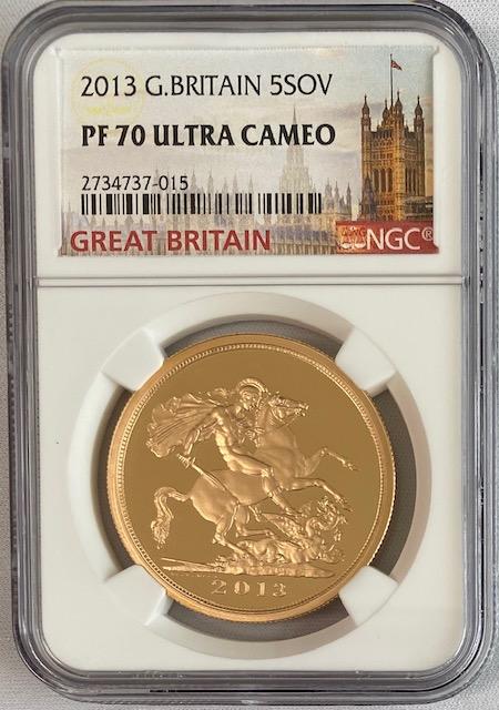 グレートブリテン2013年エリザベスII世5ポンドプルーフ金貨NGC-PF70UCAM