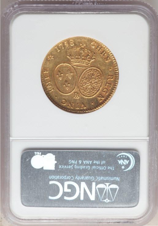 フランス-ルイ15世2ルイドール金貨1758BB-NGC-MS62