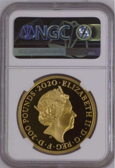 グレートブリテン2020年ジョージ3世2オンス200ポンドプルーフ金貨 NGC-PF70UCAMファーストデイオブイシュー5880721-121箱付き