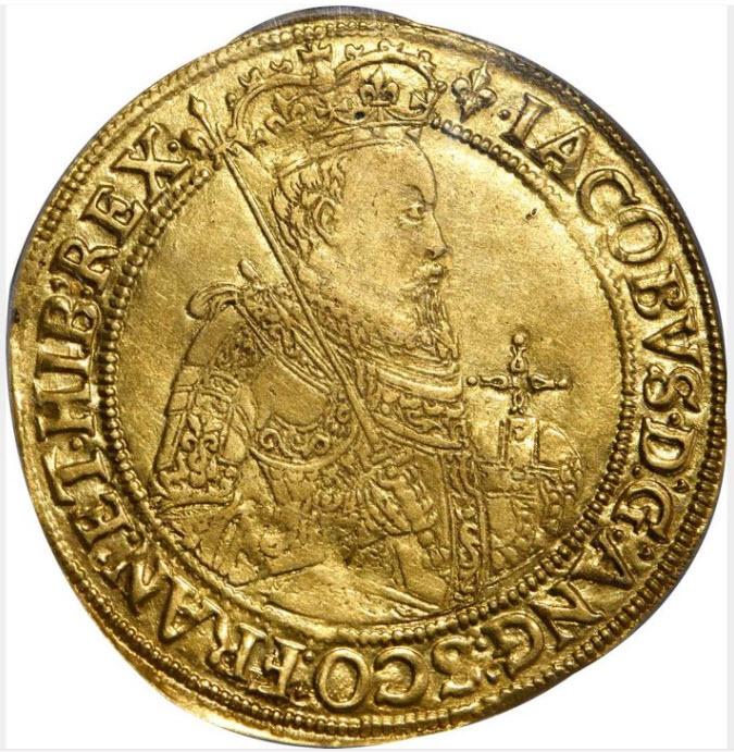 グレートブリテン1604-05年ジェームズ1世ソブリン(20シリング)金貨 PCGS-AU55