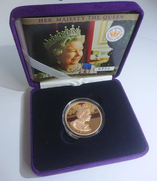 【動画あり】グレートブリテン2002年エリザベスII世ゴールデンジュビリーヘッド5ポンドプルーフ金貨箱付き