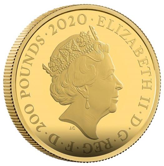 【動画あり】グレートブリテン2020年エリザベスII世2オンス200ポンドプルーフ純金金貨ジェームズボンド2nd007箱付き