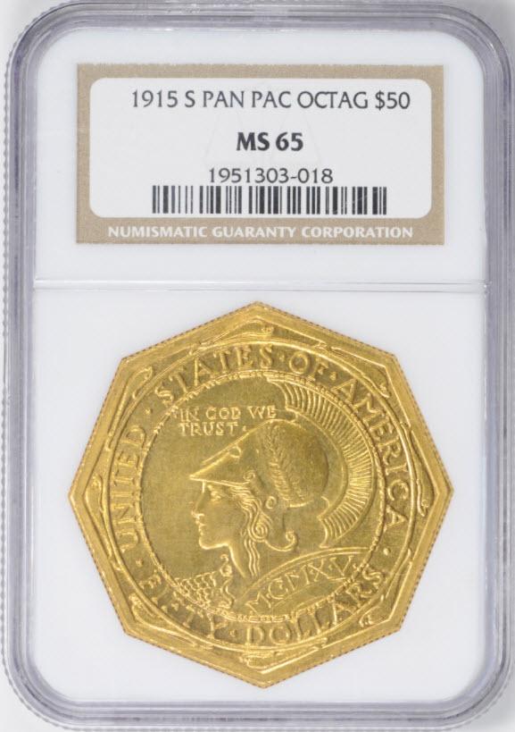 アメリカアンティークコイン50ドル パナマパシフィック金貨1915-S Octa $50 NGC MS65
