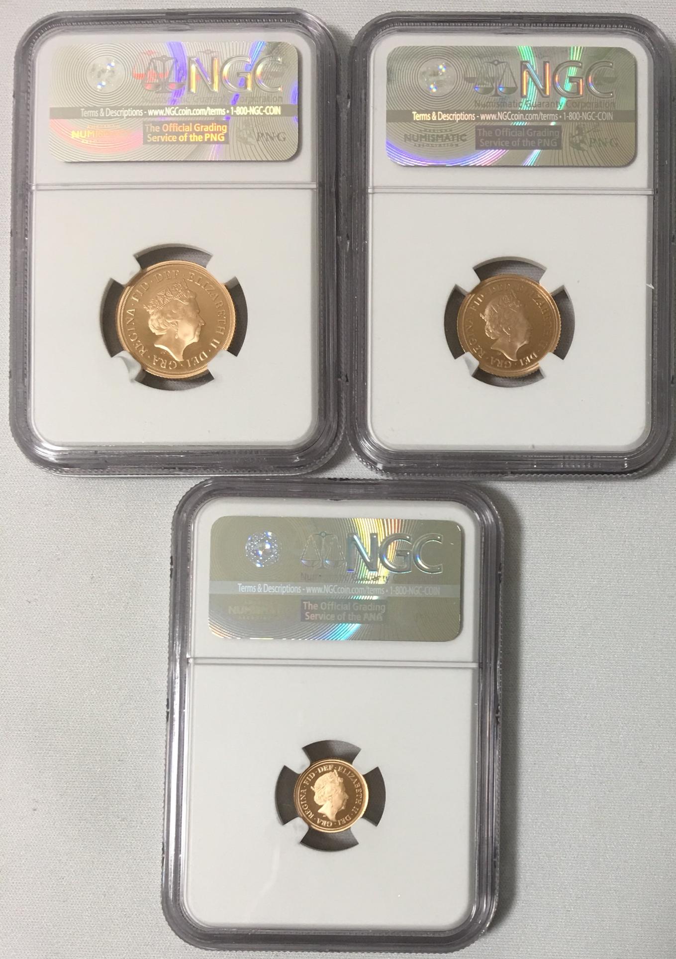 【鑑定済】グレートブリテン2018年エリザベスII世 プルーフソブリンNGC社PF69・70・70UCAM金貨3枚セット オリジナル箱付き
