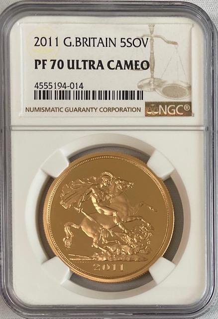 【動画あり】グレートブリテン2011年エリザベスII世5ポンドプルーフ金貨NGC-PF70UCAM