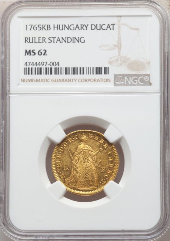 ハンガリー1765-KB年マリア・テレジアダカット金貨NGC-MS62