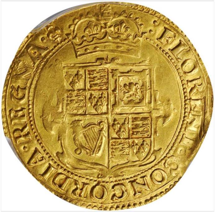 グレートブリテン1625年チャールズ1世ゴールド・ユナイト金貨PCGS-AU58