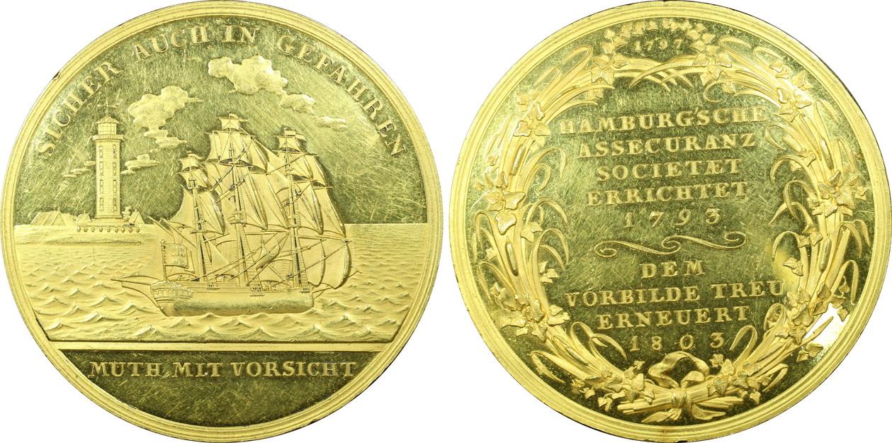 【動画あり】ドイツ・ハンブルク1803年 ゴールドメダル 船と灯台
