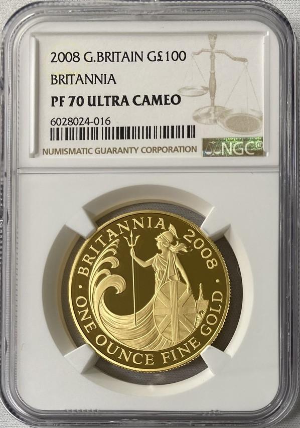 グレートブリテン2008年スタンディングブリタニア100ポンド金貨NGC-PF70UCAM
