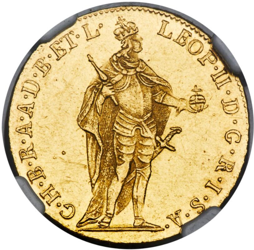 【動画あり】ハンガリー1792年レオポルト2世ダカット金貨NGC社MS-63