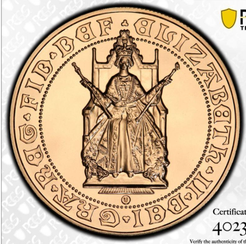 1989年 グレートブリテン エリザベス2世 500周年記念  5ポンド金貨 PCGS-MS70-40236222