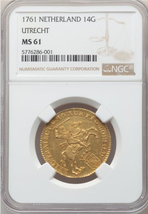 アンティークコイン オランダ1756年ライダー14ギルダー金貨NGC-MS61