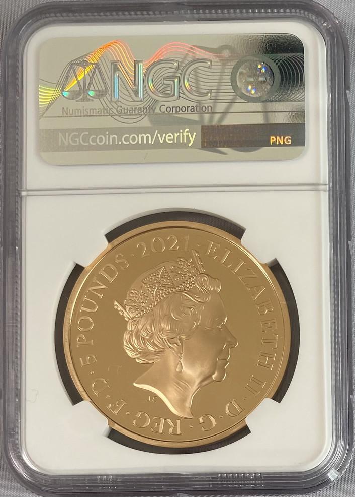 グレートブリテン2021年エリザベス女王生誕95周年1オンス5ポンド金貨NGC社PF70UCAMファーストリリース