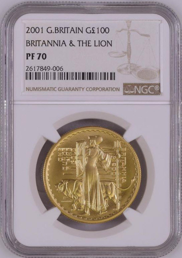 【動画あり】グレートブリテン2001年ウナとライオンブリタニア100ポンド金貨NGC-PF70UCAM2617849-006