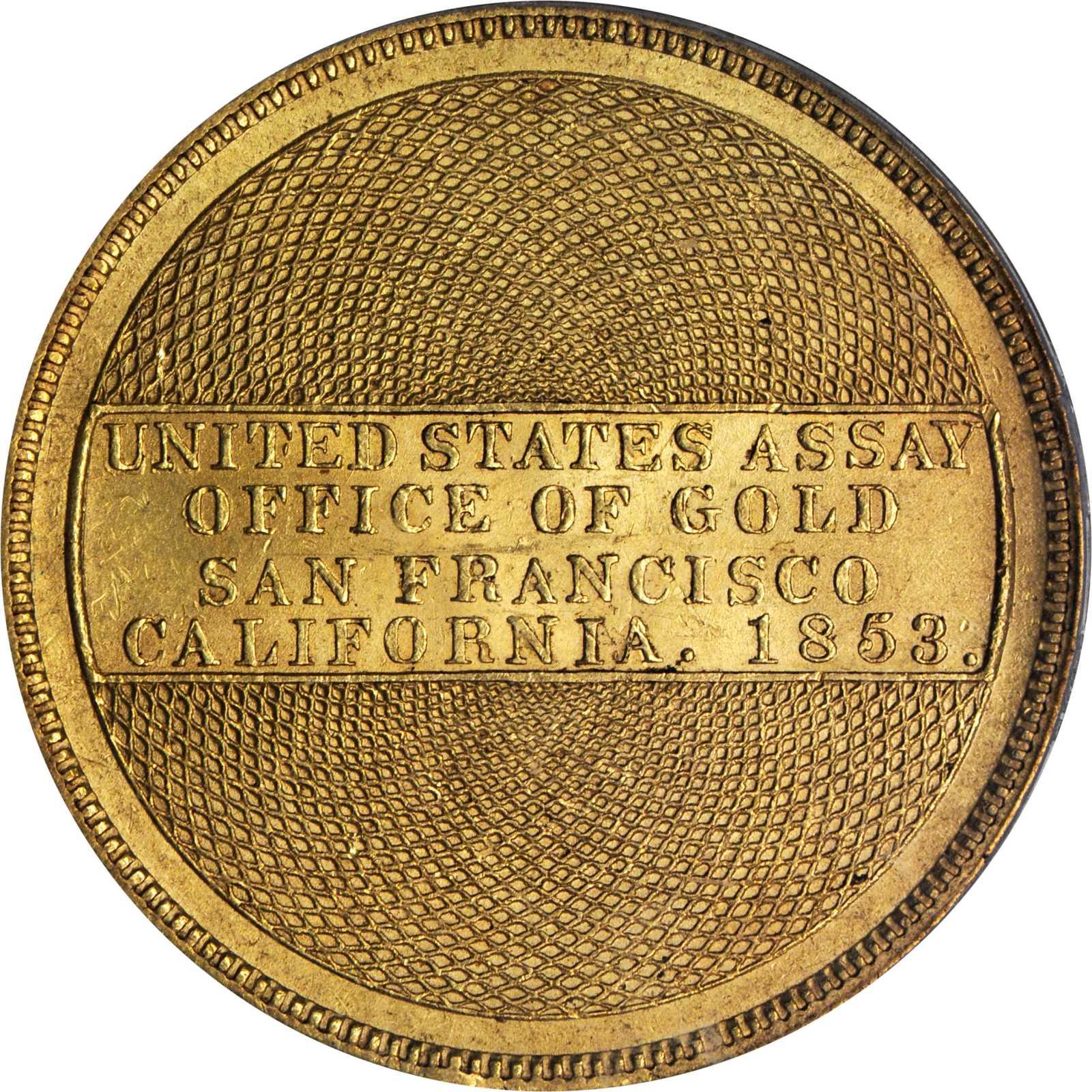 アンティークコイン アメリカ 20ドル金貨1853 $20 アッセイオフィス 884PCGS MS61