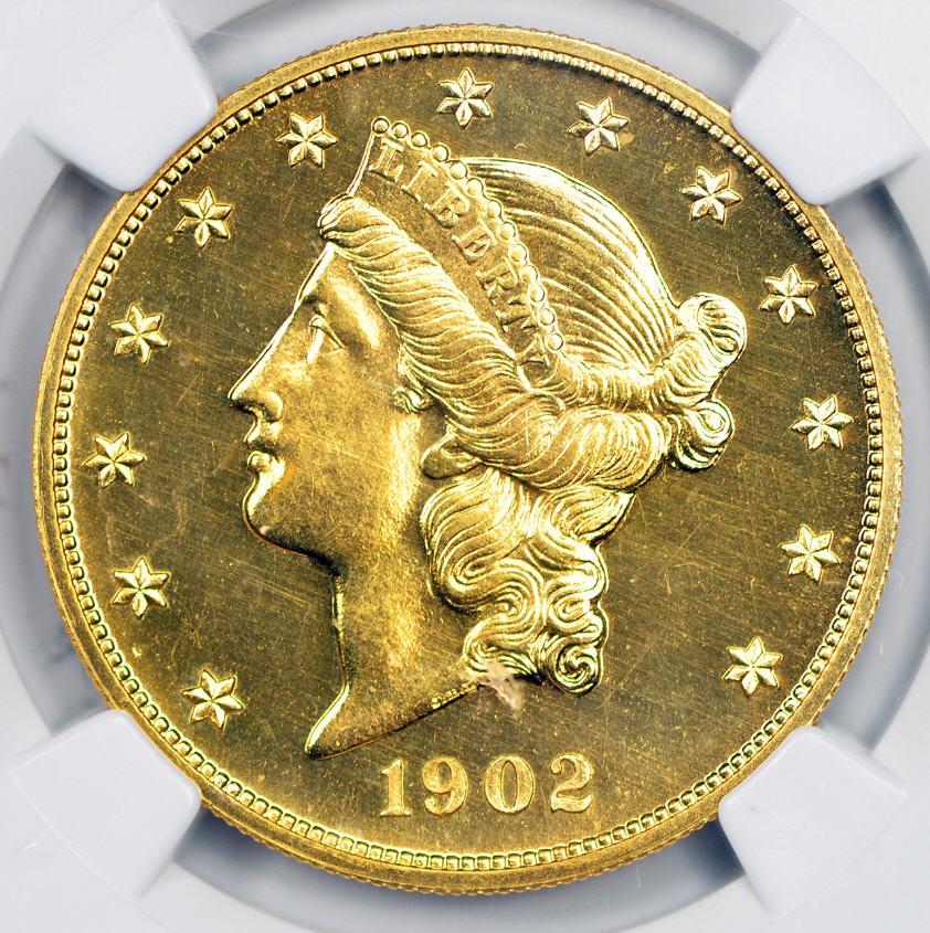 アンティークコイン アメリカ 20ドル金貨リバティヘッド1902年ダブルイーグル NGC PF66