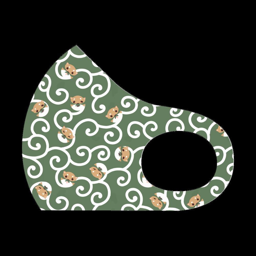 柴草模様のマスク/茶柴