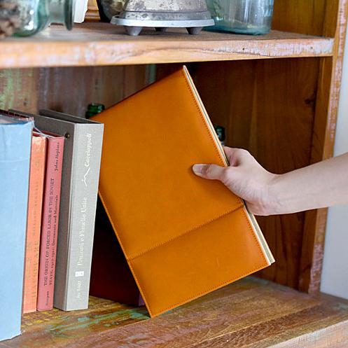 本革折立てミラー Sサイズ  オレンジブラウン(栃木レザー)