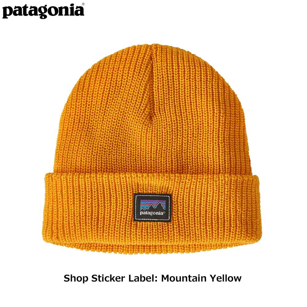 キッズ・ロゴ・ビーニー Shop Sticker Label: Mountain Yellow 66045 / 【patagonia パタゴニア】