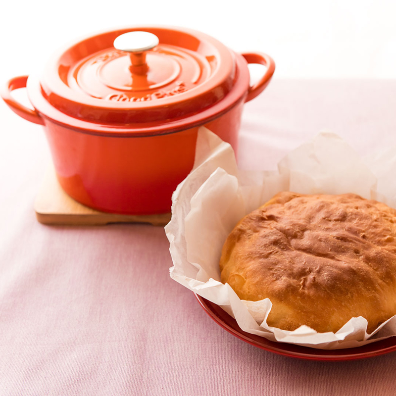 ★グッドプラス キャストポット18�オレンジ(鉄鋳物ホーロー鍋)
