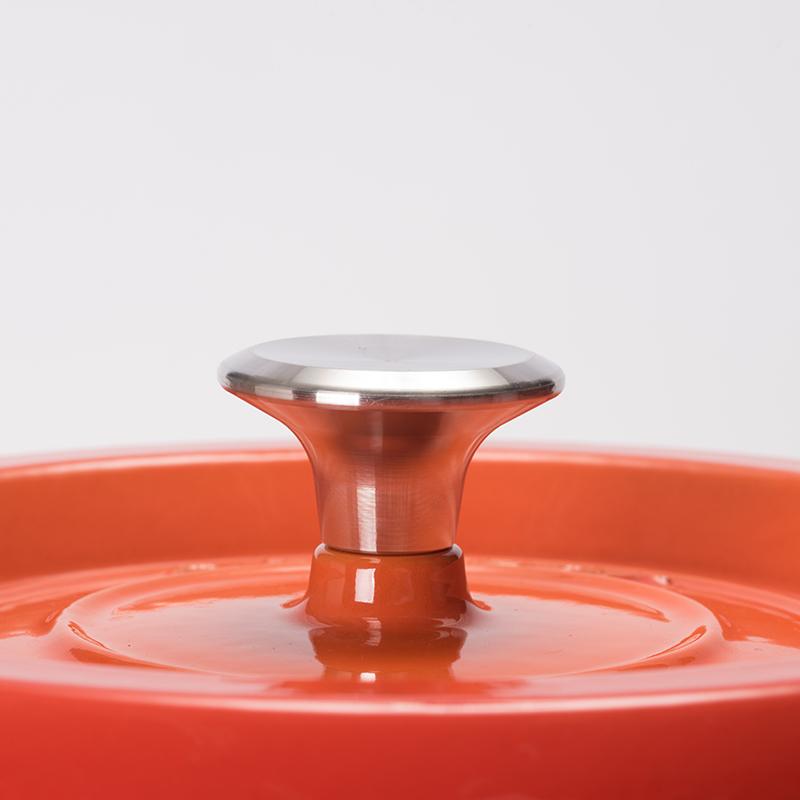 ★グッドプラス キャストポット20�オレンジ(鉄鋳物ホーロー鍋)