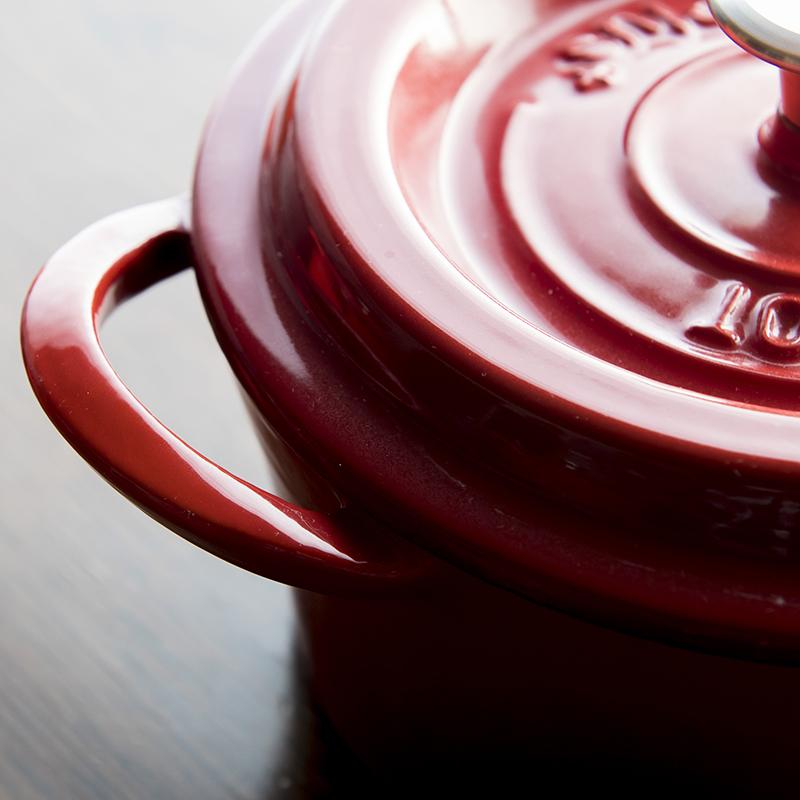 ★グッドプラス キャストポット20�レッド(鉄鋳物ホーロー鍋)