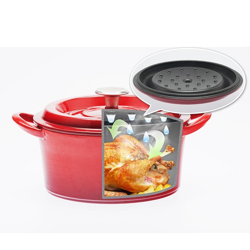 ★グッドプラス キャストポット24�浅型レッド(鉄鋳物ホーロー鍋)