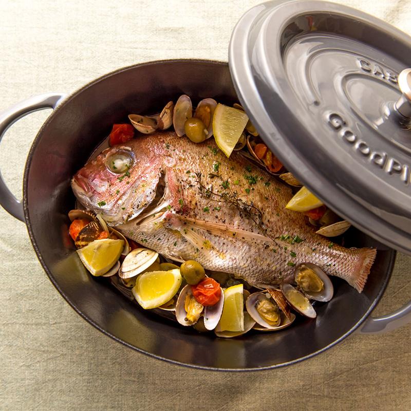 ★グッドプラス キャストポットオーバル26�グレー(鉄鋳物ホーロー鍋)