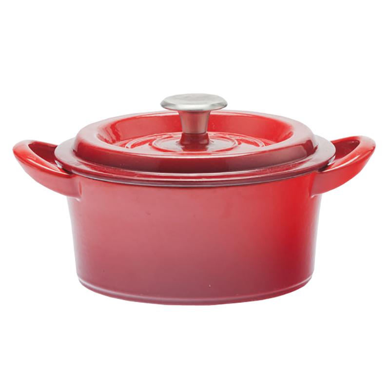 【アウトレットセール30%オフ/訳あり】グッドプラス キャストポット18�レッド(鉄鋳物ホーロー鍋)