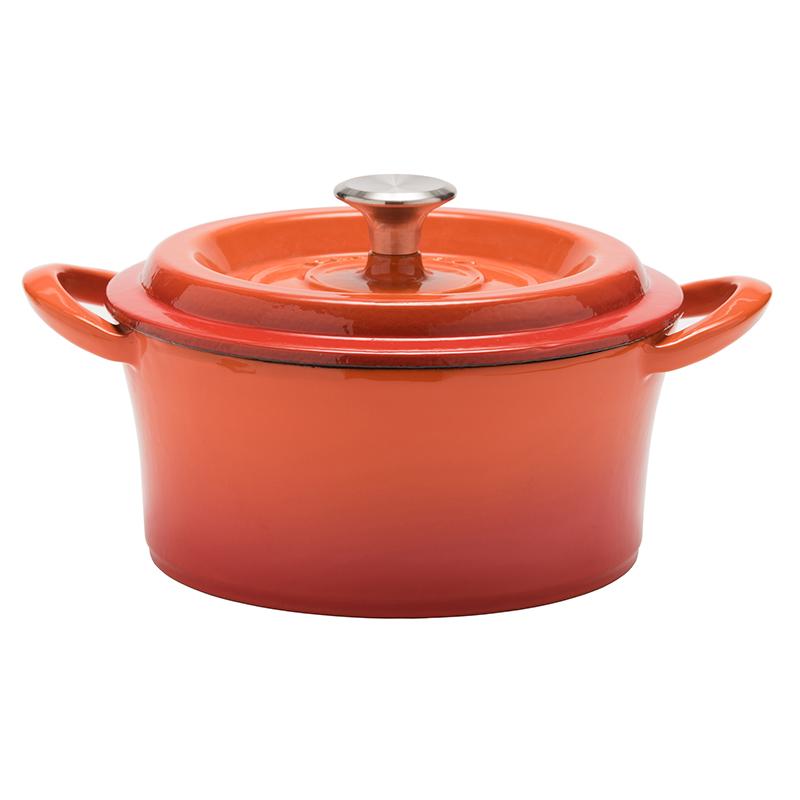 【アウトレットセール30%オフ/訳あり】グッドプラス キャストポット18�オレンジ(鉄鋳物ホーロー鍋)