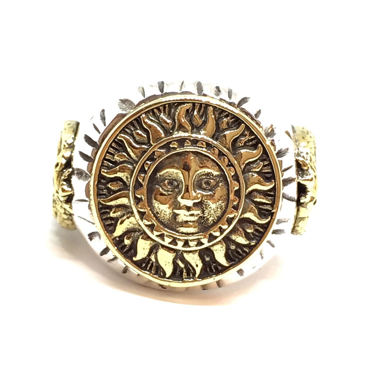 太陽神(アステカ文明の最高神)フリーサイズリング シルバーアクセサリー (GVRG24)
