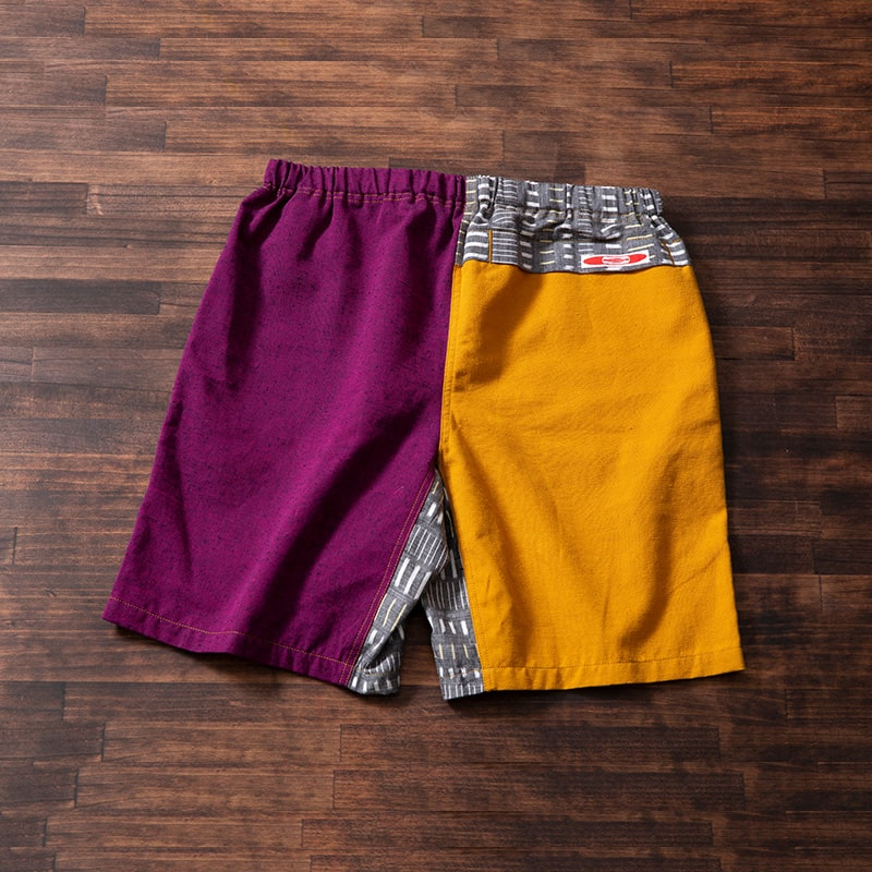 KURUMEKASURI SHORTS PURPLE×MUSTARD