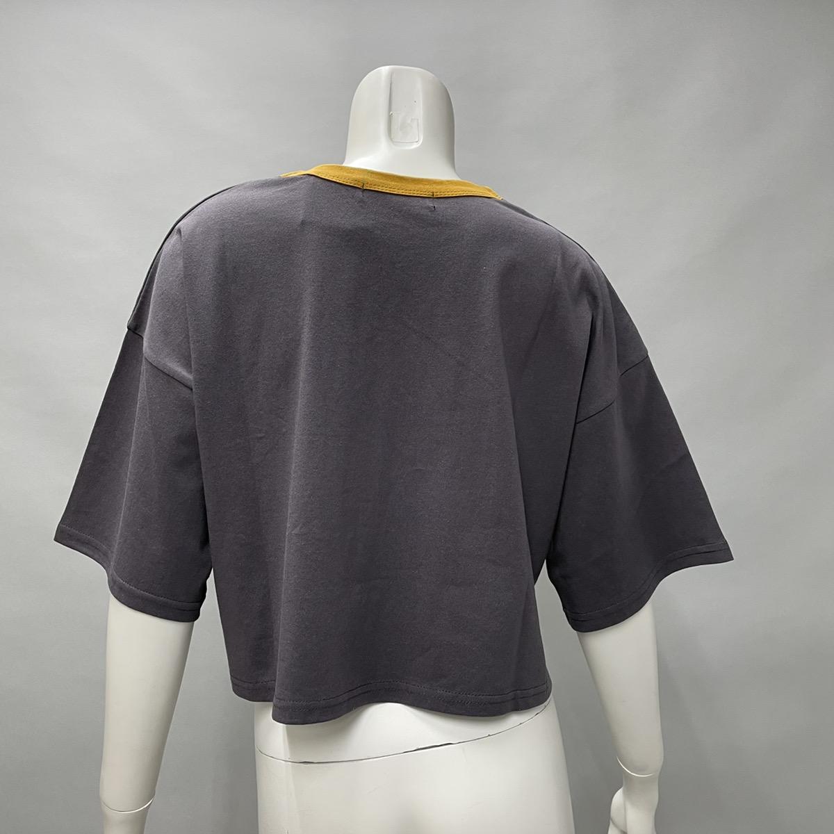 ブリティッシュ配色短丈Tシャツ