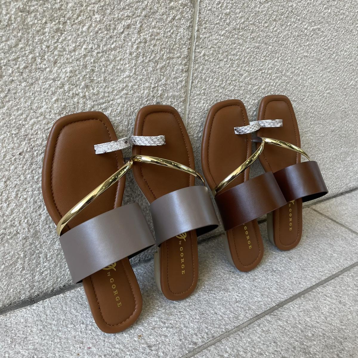【6/3再入荷】ゴールドパーツトングサンダル