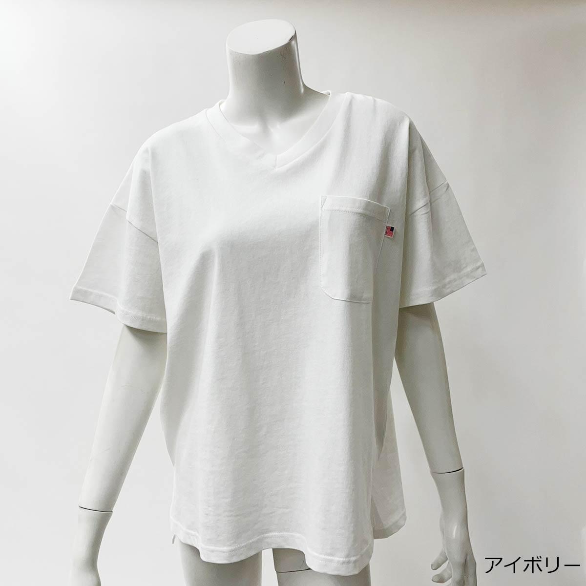 【3/29再入荷】【ネコポス送料無料】USAコットンVネックTシャツ